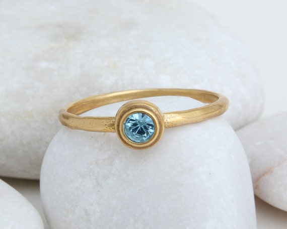 stackable birthstone ring in 14k gold vermeil by