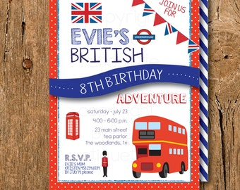 British London Birthday Tea Party Invitation, British Birthday,London Tea Party,London Bachelorette Party, British Baby Shower, British Flag