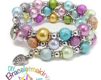 "DIY Bracelet, stardust bead, Kids Jewellery Making Kit, ""Morning Dew"" Wrap Around Bracelet kit, DIY kit memory wire bracelet jewelry kit uk"