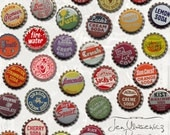 Vintage Bottlecaps digital scrapbooking graphics / clipart / altered art / mixed media collage / instant download / printable