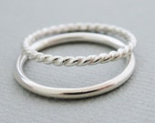 Silver Rings thick large stacking rings 14 gauge twist ring and plain round wire ringThumb Ring Stacking Ring