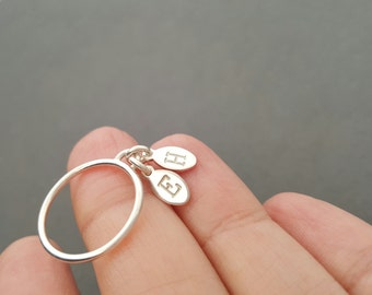Initial Ring sterling silver personalised Jewellery stacking ring gift for best friend