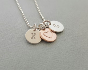 Heart Necklace initial gift for mum monogram rose gold and silver childrens initial disc necklace mothers day gift grandmothers necklace