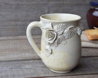 Stoneware Tea Cup  in cream with roses without dots- 2nd design  - Handmade  Stoneware Ceramics  - cream - mug