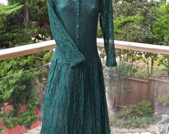 Lace Dress, 80s Lace dress, Green Lace dress, Emerald Lace dress, Forest Green dress, S