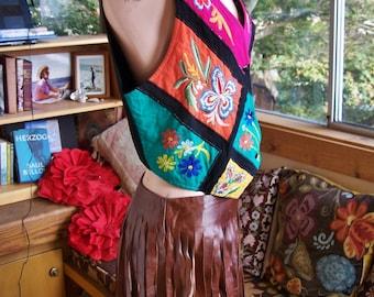 Boho Vest, Embroidered Vest, Color block vest, Festival vest, Black Rayon vest, size M / L