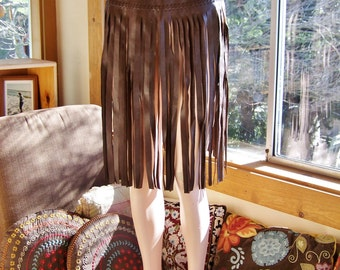 Leather Fringe skirt, Fringe leather skirt, Brown Leather skirt, Brown fringe skirt, festival skirt, size M / L