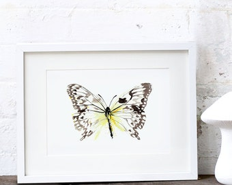 Yellow Butterfly Art Print Butterfly Watercolor Painting Butterfly Illustration A3 & A2