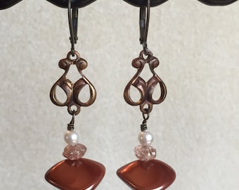 Vintage Copper with Wonky Pearl Earrings