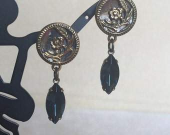 Vintage Button with Blue Navette Earrings