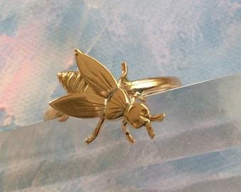 14k Gold Honey Bee Ring