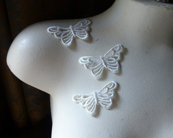 3 Butterfly Appliques  Medium Large size in Ivory  Venise Lace American made for Bridal, Headbands, Gift Wrap, Crafts AM 28