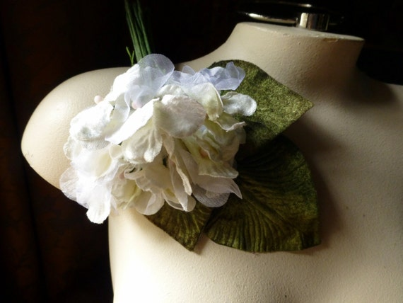 Ivory Hydrangea in Velvet & Organdy Millinery for Bridal, Boutonnieres, Headbands, Corsages, Hairpins MF 210