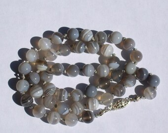 Botswana Agate Shades of Gray Handknotted Bead Necklace