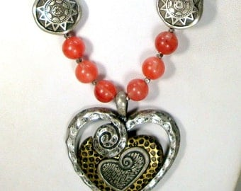 LOve, Pink Quartz Beaded Heart Necklace, Mixed Metals w Stone,  all Ecochic Recycled, Modern Silver and Pink Parts, OOAK by  Rachelle Starr