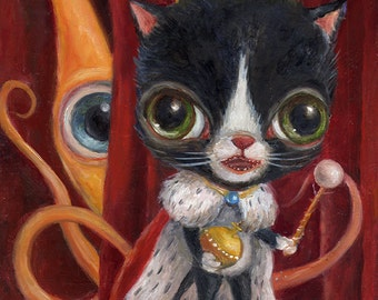 Tuxedo Cat Art Print, Royalty, Pop Surrealism, Squid Print, Lowbrow Art, Big Eye Art, Whimsical Art, Childrens Decor, Matted Print