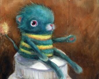 Still Life Art Print, Needle Felted Bear Portrait, Unusual Still Life, Pop Surrealism, Lowbrow Art, Whimsical Art Giclee Print, Matted Print