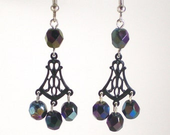 Black Peacock Glass Pierced Earrings Enamel Filigree Links