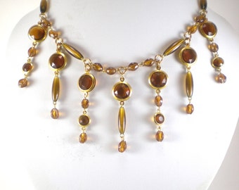 Gold Amber Lucite Bezel And Glass Bib Necklace recycled Jewelry