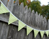 Green Gingham MINI Party Banner for Birthdays, Lime Nursery Bunting, Farm Birthday Theme -- fabric flags, baby shower, picnic, boy or girl