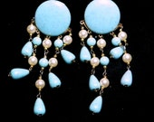 Baby Blue Baubles-Vintage Costume Earrings-Faux Pearl Dangles Clip On 1980s Fun/Flashy