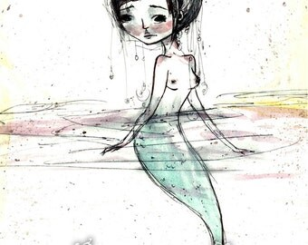 "ACEO ATC Artists Trading Card Mini Print - 'Watercolor Mermaid' - Small Sized Artwork 2.5x3.5"" - little wandering mer creature -"