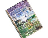 Monthly Planner, Traveler's Notebook - Any Year Undated Desk Diary, Boho Blue Green Upcycled Postage Stamp Art, Eclectic Hippie Travel Gift
