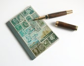 Dot Grid Pocket Travel Journal 5 - A6 Traveler's Notebook, Recycled Postage Stamp Mail Art Collage, Abstract Seascape, Eclectic Travel Gift