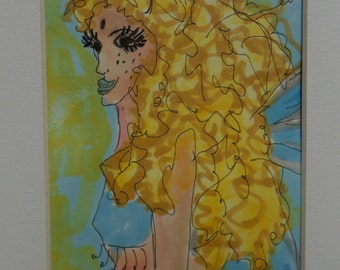 Sunny Fairy Original Pen and Ink Drawing