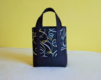 BIBLE TOTE Perfect Size for your Bible, Journal, Pens, Study guides. Black Canvas with Confetti print
