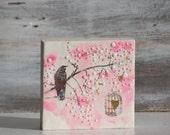 LOVE Original Painting Birdcage Bird Pink Heart Valentine