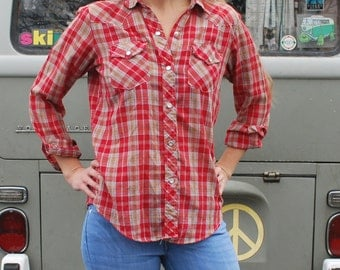 Vintage Women's Red Plaid Pearly Snap Western Shirt