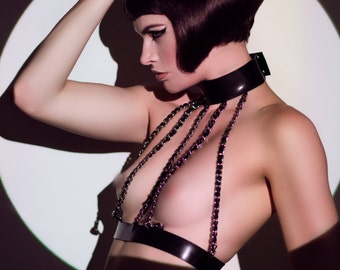 Latex Rubber Desiree Chain body harness