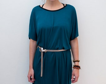 Loose Tunic Dress / Oversized T-shirt Dress / Petrol Dress Tunic With Belt