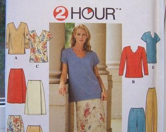 Simplicity 8087 Misses' Sewing Pattern, SALE Short  or Long Sleeve Top, Elastic Waist Skirt and Pants, Easy Career Wardrobe, 2 Hour Pattern
