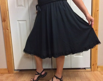 Full Swing Black Circle Skirt, Short, Midi, Below the Knee, Thin Cotton, Lace Trim, Recycled, Costume, Gothic, Womens Size Large XL