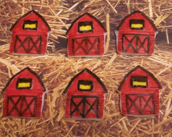 Edible Fondant Barns-Fondant Farm-Edible Candy Barn-Set of 6-Cake/Cupake Toppers-Country Barns