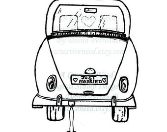 INSTANT Download Just Married  Digital Stamp Image, for Cardmaking, Scrapbooking, ATCs, Mixed media,