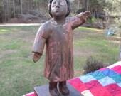 Primitive Woman Wood Carving--Folk Art--Carved Wood Figurine--Afro American Wood Art--Halloween Creepy Decor