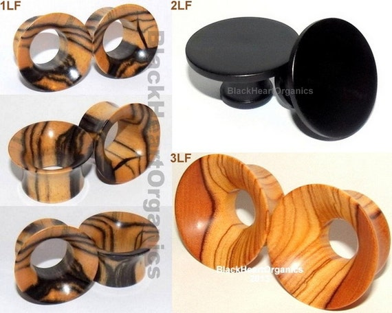 "Custom Wooden Plugs, Mayan Flare Examples / Organic Jewelry (0g through 3"" +) (8mm through 76mm +), EXAMPLES of CUSTOM WORK"