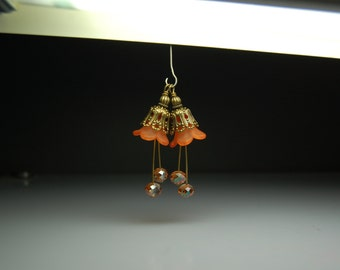 Vintage Style Bead Dangles Orange Lucite Flowers Pair O918