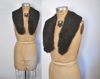 Rabbit Fur Collar / vintage / dark brown