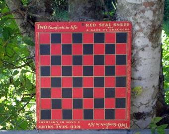 Tobacco Ad Board, 1930s Red Seal Snuff Girl, Checkerboard, General Store Antique, Farmhouse Decor, Rare Unusual Collectible Tobacciana