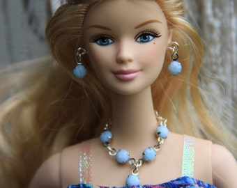 "Baby Blue Drop Rhinestone Necklace Earrings Bracelet Doll Jewelry Set fits 11 1/2 - 12"" 1/6th Scale High Fashion Dolls"