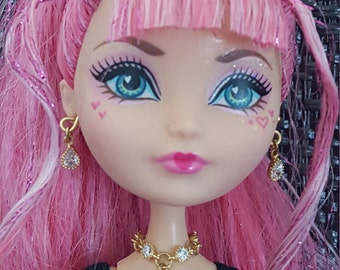 Elegant Cubic Zirconia Drop Gold Necklace Doll Jewelry for Slimline Petite Monster Dolls and Fairy Tale Dolls