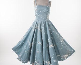 50s Circle Skirt Sleeveless Dress, Vintage Pale Blue Cotton Dress with Rhinestone Studs, Fit & Flare Nipped Waist