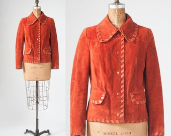 Vintage 1970s Boho Suede Jacket, Cinnamon Orange Leather Jacket, Leather Trim, Hippie Jacket, Western WearJacket, Rust Colored Suede Coat