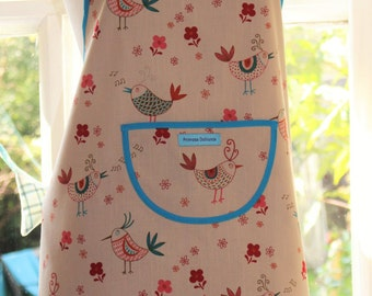 A Little Bird Told Me - Bird and Flower Print Apron.  Womens Full  Apron