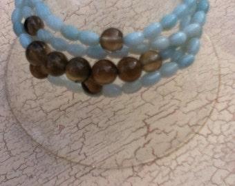 Stacking Bracelet Set Smoky Quartz and Amazonite Boho Jewelry Womens Gift Stretchy Bracelet Set Stretch Bracelets Boho Bracelets Energy