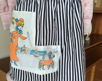 Wonderful Vintage Poodle Apron with Old Fashion Lady 60's 70's Fabric